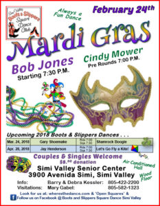 February Plus Square Dance Mardi Gras With Boots and Slippers @ Simi Valley Senior Center