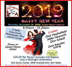 "New Years Eve Square Dance ""Happy New Year 2019"" @ Simi Valley Senior Center"